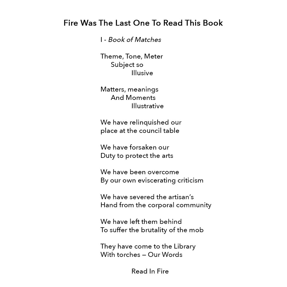 Book of Matches - Poem